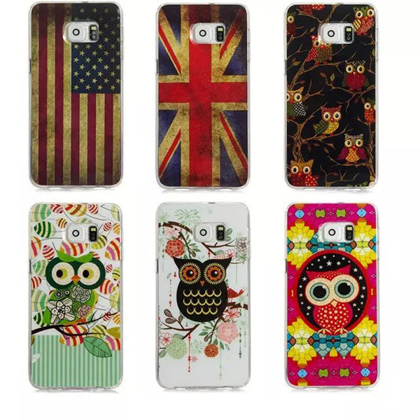 UK/US National Flag Cute Cartoon Owl Classic Pattern Cases For SAMSUNG S6 EDGE Plus Soft TPU Material Phone Shell K1375E