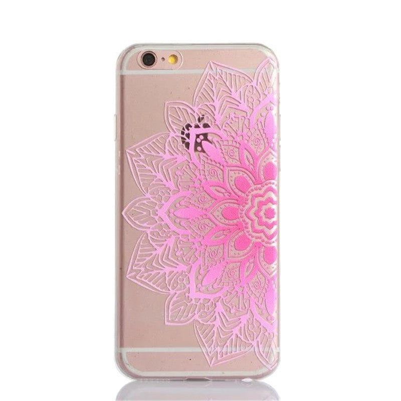 Vintage Coloful Datura Flower Mandala Henna Dreamcatcher Floral Clear Back Case for iphone6 6S Plus Soft TPU Phone Case EK1524