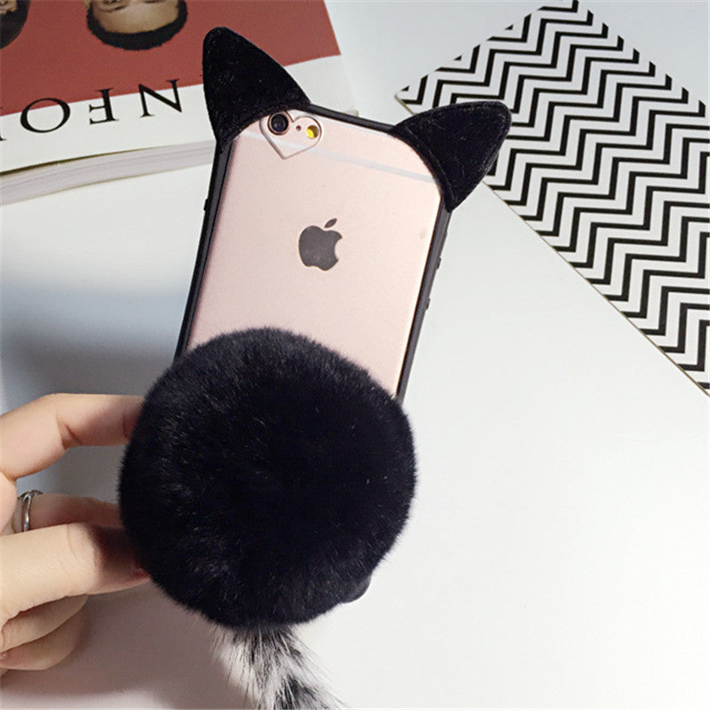 Fur Ball koko cute Cat Tail Soft Case for iphone 5S 5 5G SE