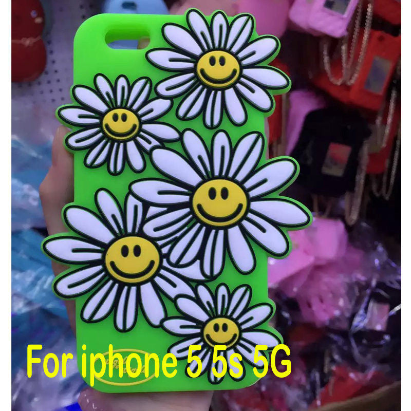 New Fashion 3D Sunflower Ice Cream Flamingo  phone Case For iphone 5 5S 6 6s plus 4.7 5.5 Wiggle Silicone Material ESJK1293