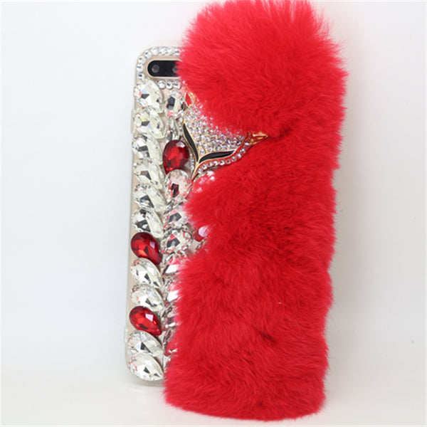 New Handmade Luxury Bling Rhinestone Rabbit Hair Case Cover For iphone 7 7plus 6S plus Case Diamond fox Winter Style coque Shell