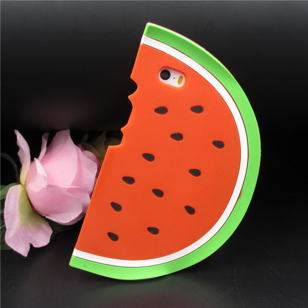 Newest Fashion Fruit Cases Cute 3D Red Watermelon Silicon Phone Covers for Apple iphone 5 5S 5G SE 6S 6 Plus Protective shell