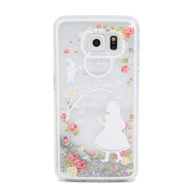 Silver Dynamic Liquid Glitter Quicksand  Lady Cases For Samsung Galaxy S6