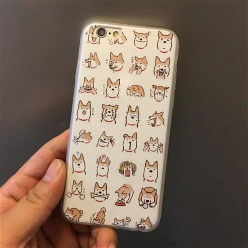 Transparency Silk print Thick TPU back cover for iphone 5 5S I6 4.7in I6 plus phone Cases Cartoon Dog Pattern  BSJK1194
