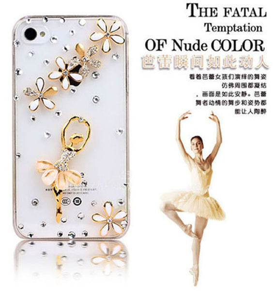 +Handmade crystal dancing ballet girl Shining Rhinestone diamond Hard Case for iPhone 5C phone cases