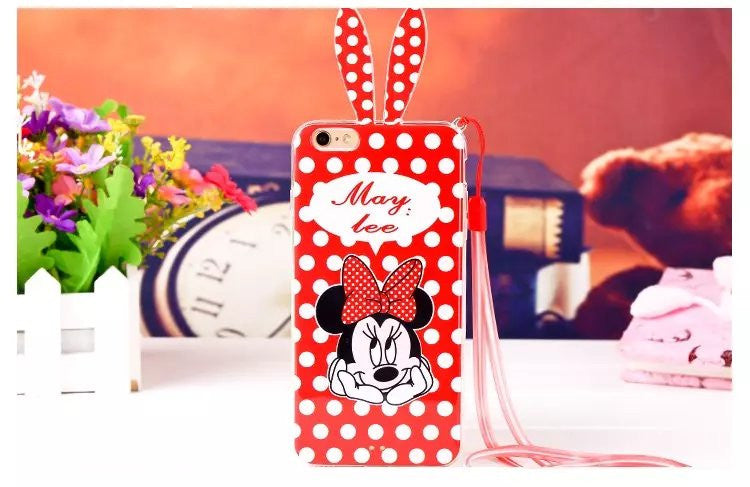 Minnie Soft Case cover For iPhone 6 6s plus with lanyard