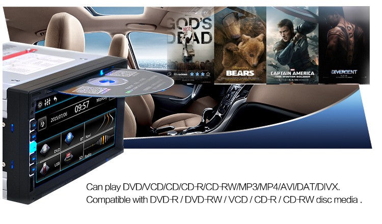 7'' inch LCD Touch screen car radio DVD CD player BLUETOOTH mp5 audio 1080P movie Support rear view camera