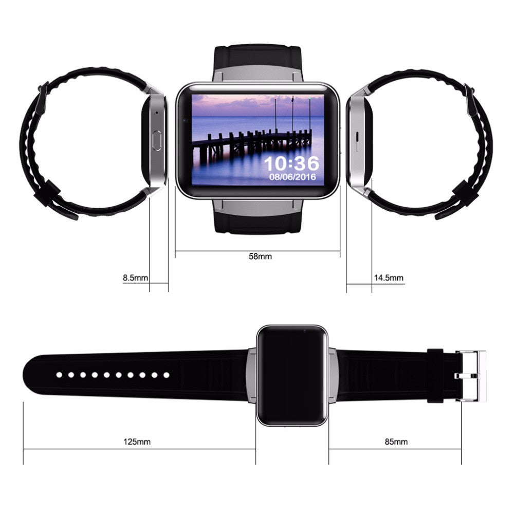 DM98 Dual Core 2.2 Inch AMOLED Screen Display Smart Watch Wireless Bluetooth 4.0 3G Phone Smart Wristwatch