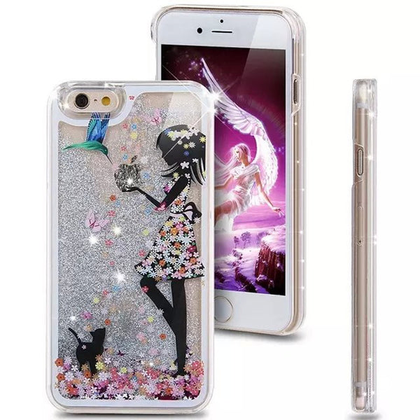 Girls Fashion Painted Transparent Dynamic Liquid Glitter Case Cover for iphone 5 5G 5S 5SE