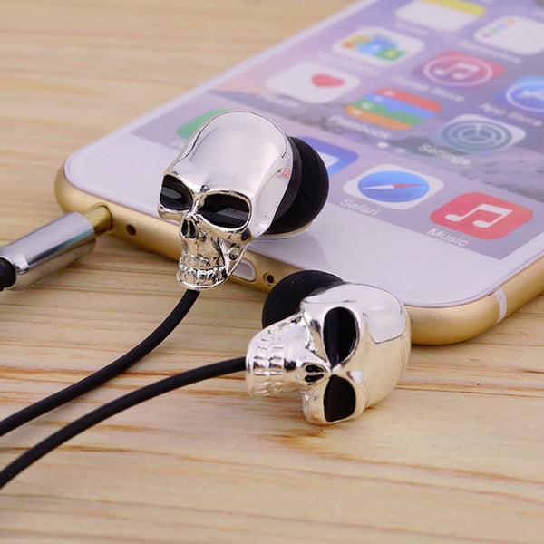 Cool Skull Heads 3.5mm Port Earphones Earbuds Headset For MP3 for smartphones or tablets
