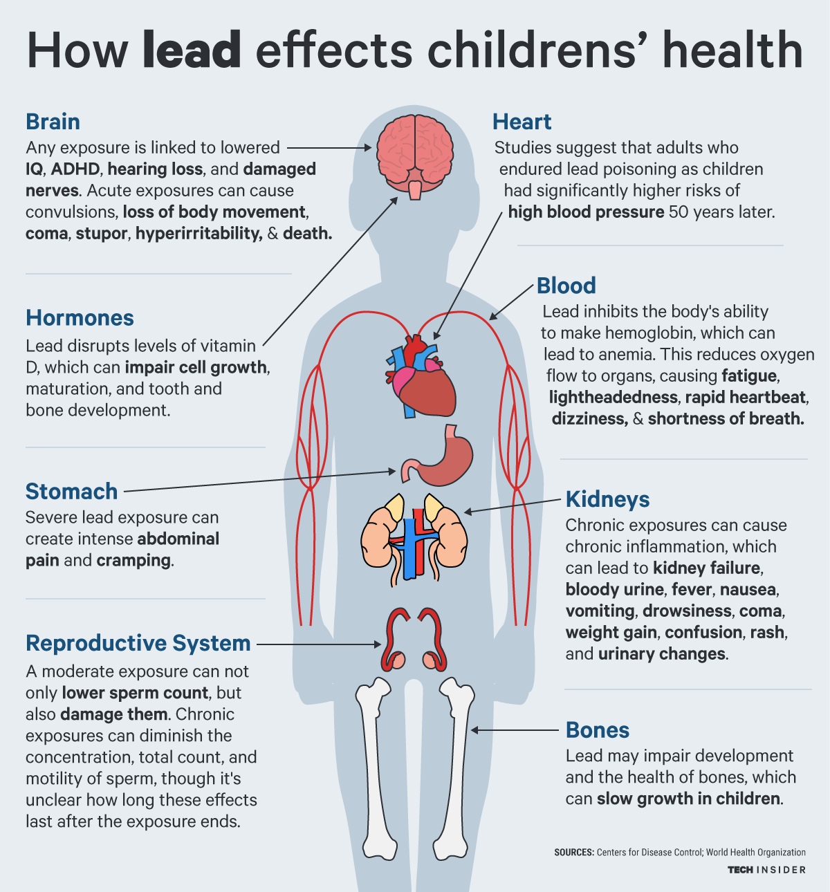 long term health risks children lead drinking water poison