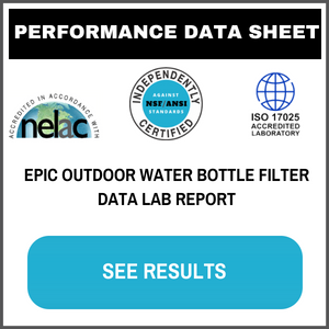 Epic Water Filters Outdoor Adventure Water Bottle Testing Data Sheet Contaminant List NSF ANSI WQA