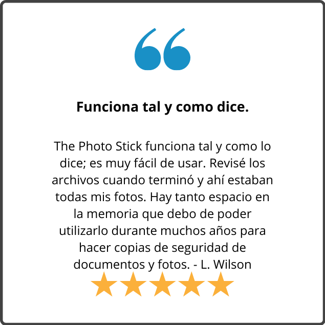 The Photo Stick works just the way it says it does; very easy to use. I checked it when done, and there were my pictures. There is so much room on the stick that I should be able to use it for years to backup documents and pictures