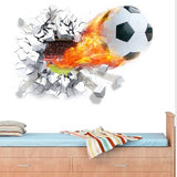 """Scorching Champ"" Wall Decal of Soccer Ball Blasting through the wall!"
