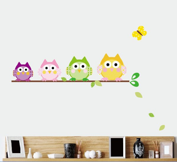"""Owls on a Branch"" Adorable Wall Stickers for Decorating Kids Rooms."