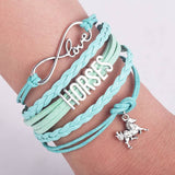 New Style Handmade Infinity Love 8 & Silver Plating Letters Horse Charm Leather Bracelet for Woman or Girl Gifts
