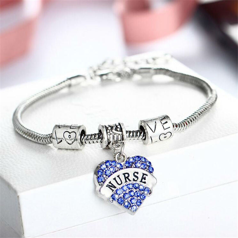 New silver plated charm nurse bracelet Austrian crystal jewelry love peace doctor bracelet bangle no war women Jewellry 2017