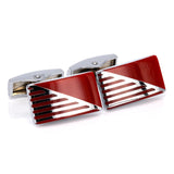 HYX Enamel cufflinks male French Red shirt cufflinks cufflin French Shirt Men Jewelry Wedding Groom Men Cuff Links