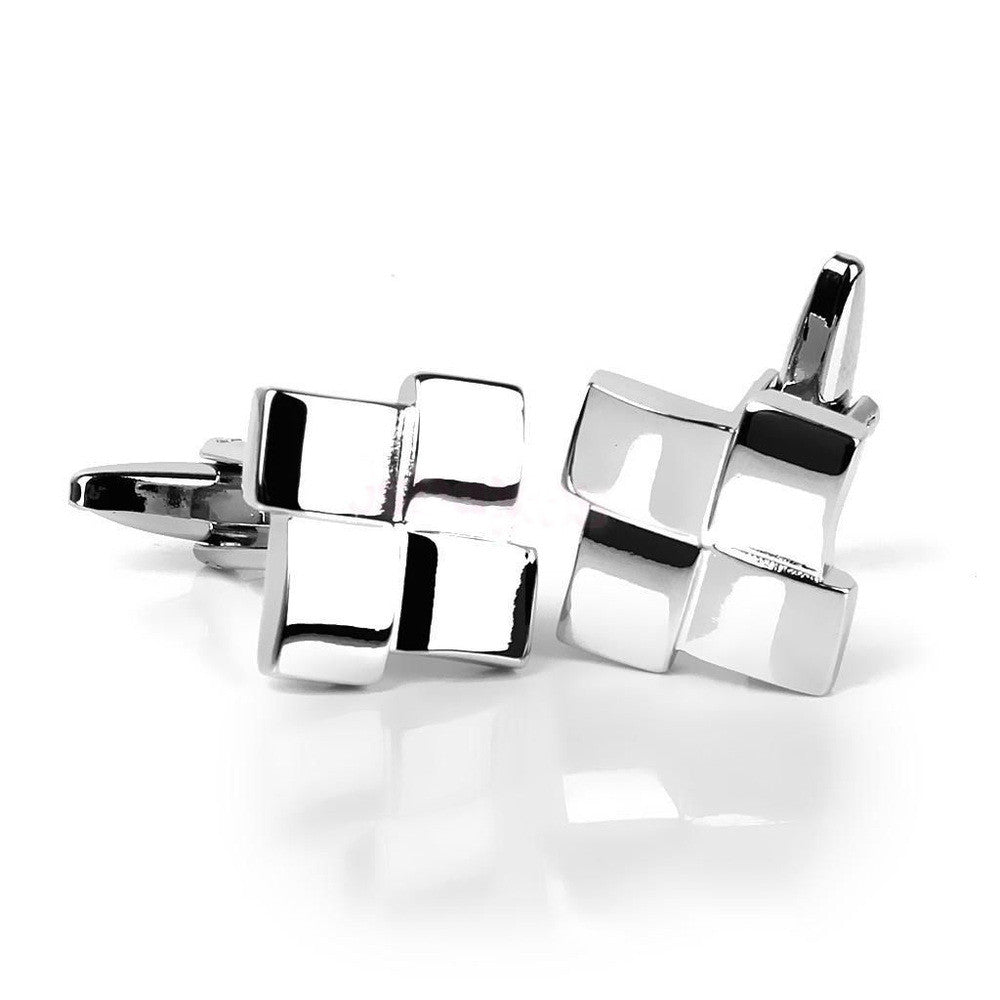 French Shirt  Men Jewelry Geometric Unique Wedding Groom Men Cuff Links Business Men's Silver Cufflinks VCC25 P45