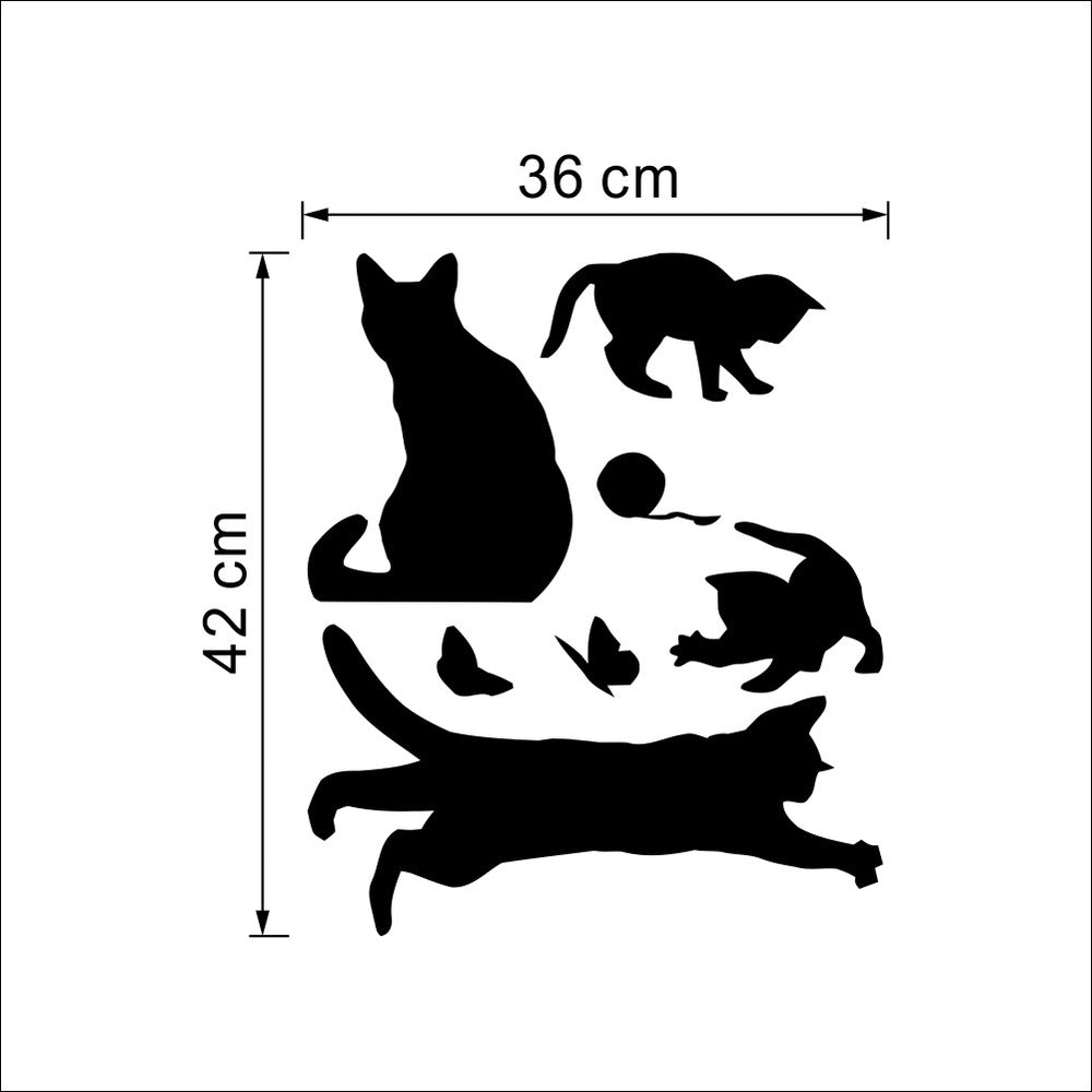 """Black Cat Play"" Cat playing wall stickers"