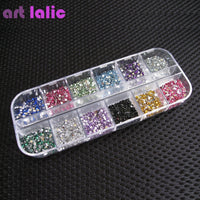 New 3000pcs Mix 12 Color 1.5mm Circle Beads Nail Art Rhinestones Glitters Nail Art Gems Decoration