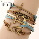 """Vintage Multi-layer Charm"" Leather Bracelet Women Owl Cross Believe Statement Jewelry"