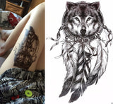 Hot Sale Wolf with Feather 21x15cm Cool Beauty Tattoo Waterproof Temporary Tattoo Stickers #174