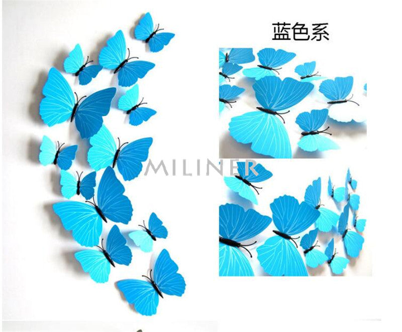 """The Butterfly Family"" 12pcs 3d Butterfly Collection Wall Stickers"