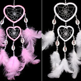 6Color Handmade Heart Dream Catcher with Feather Car Wall Hanging Decor Ornament