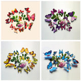 """Artistic Butterfly Set"" 12 Pcs of Beautiful Multicolored Artistically Designed 3D Butterfly Wall Sticker"