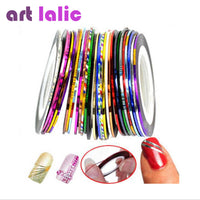 30Pcs 30 Multicolor Mixed Colors Rolls Striping Tape Line Nail Art Decoration Sticker DIY Nail Tips