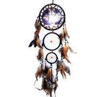 Home Wall Hanging Decoration Wolf Pattern Ornament Dream Catcher with Feathers