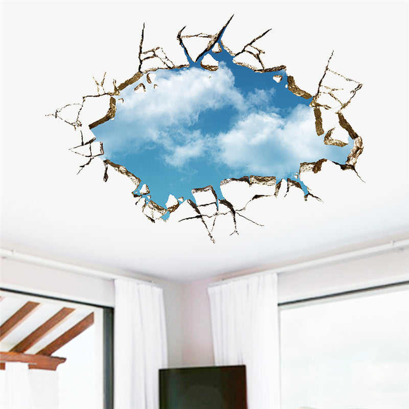 """Blue Sky Breakthrough"" Through The Ceiling Blue Sky & White Clouds Sticker"