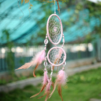 India Style Car Handmade Pink Dream Catcher Circular Net With feathers Hanging Decoration Decor Ornament Shell