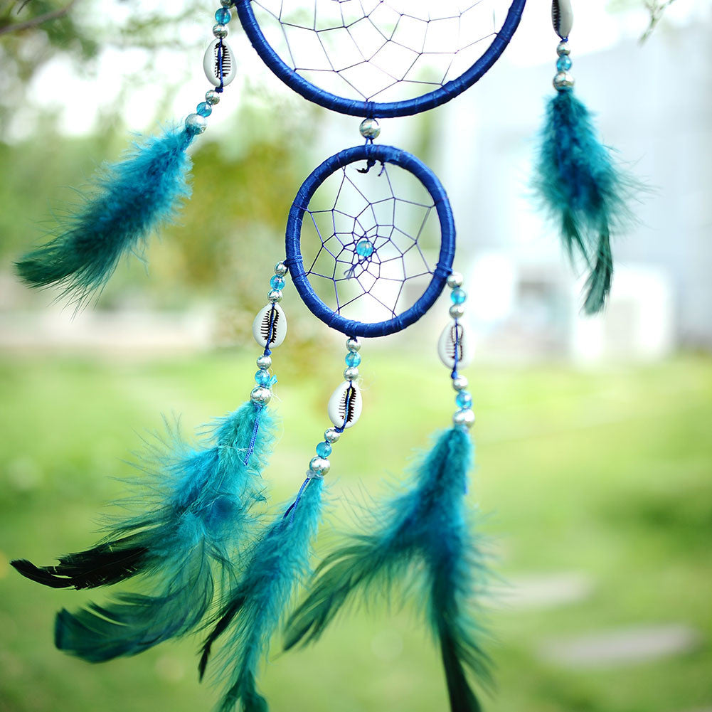 India Style Car Handmade Blue Dream Catcher Circular Net With feather Hanging Decoration Decor Ornament
