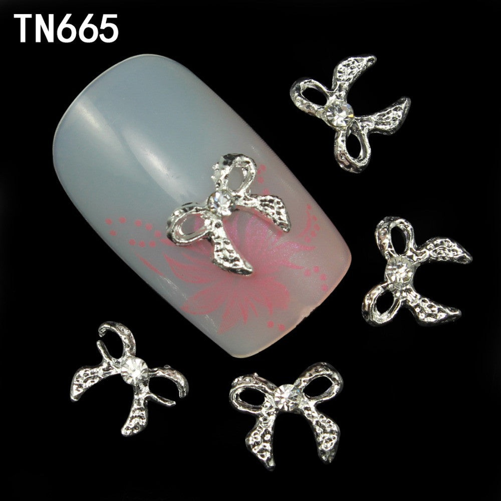 10pcs Alloy silver Glitter 3d Nail Bows Art Decorations with Rhinestones ,Alloy Nail Charms,Jewelry on Nails  Supplies TN665