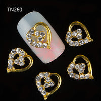 10pcs Golden Metal Heart Rhinestones 3d Nail Art Decorations, Alloy Nail Stcikers Charms Jewelry for Nail Gel/Polish Tools TN260