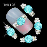 10 Pcs 3D Nail Art Decorations Diy Glitter Silver Alloy Charm Clear Rhinestones Light Blue Crystal For Nails Tools