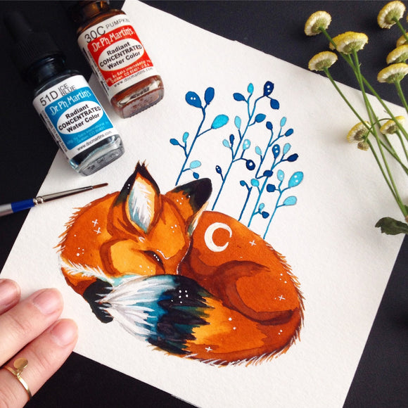 #illustration #illustrator #artist #artistsontumblr #art #fox #foxes #sleepingfox #orange #plants #goals #inspiration #inspiring #watercolor #drawing #draw #workspace #workspacegoals #moonchild #moon #starrysky #starrynight #galaxy #stars