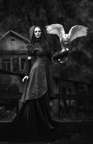 #dark #fashion #style #look #owl #animel #fly #flying #cute #beautiful #model #woman #women #16thcentury #17thcentury #18thCentury #dress #dresses #darkness #black #white #b&w #photography #witch #witches #witchcraft #spell #spells #potion #potions