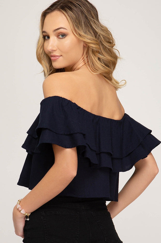 JASMINE CROP TOP - NAVY BLUE