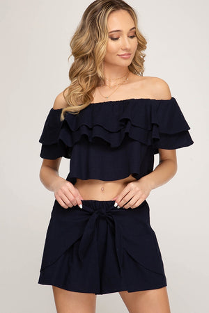 Load image into Gallery viewer, JASMINE CROP TOP - NAVY BLUE