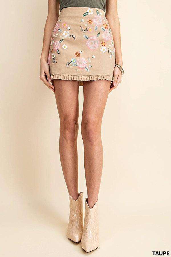 RANCH MINI SKIRT - TAUPE