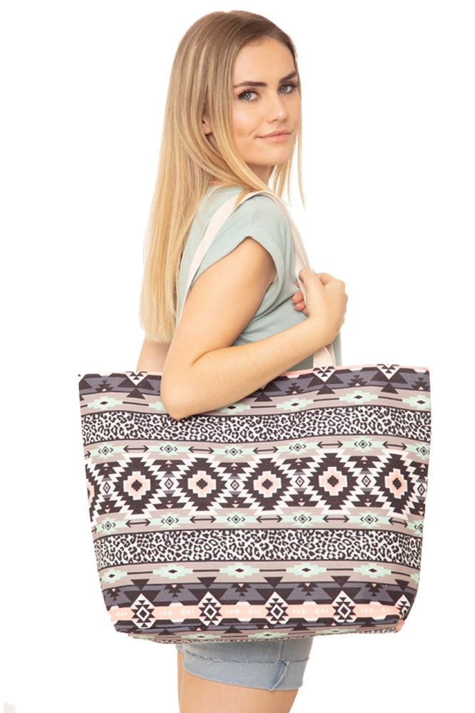 NICOLET CANVAS TOTE BAG - GRAY/MINT