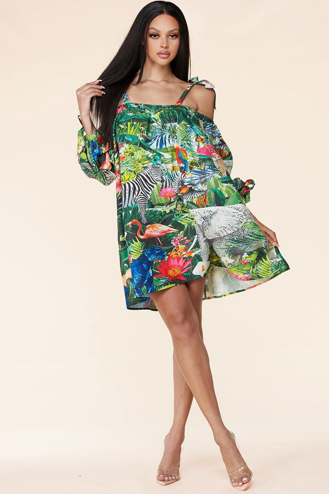 CHANNA MINI DRESS - JUNGLE PRINT