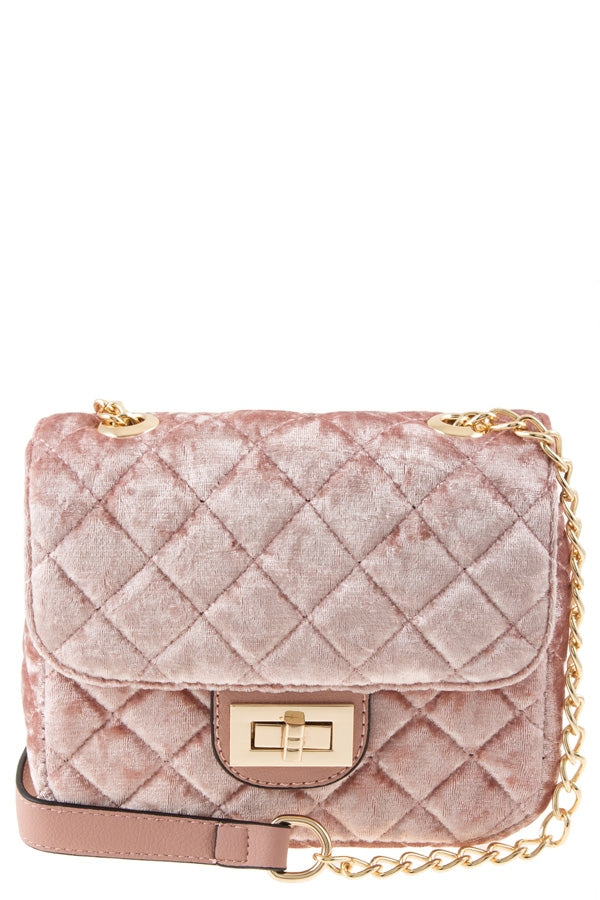 MEAGAN VELVET BAG IN BLUSH