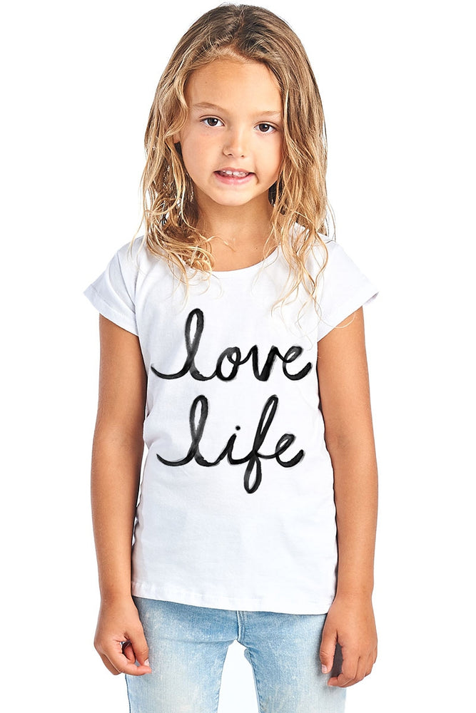 LOVE LIFE GRAPHIC IN WHITE