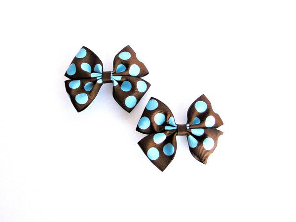 POLKA DOT BOUTIQUE HAIR BOWS (BLUE/BROWN)