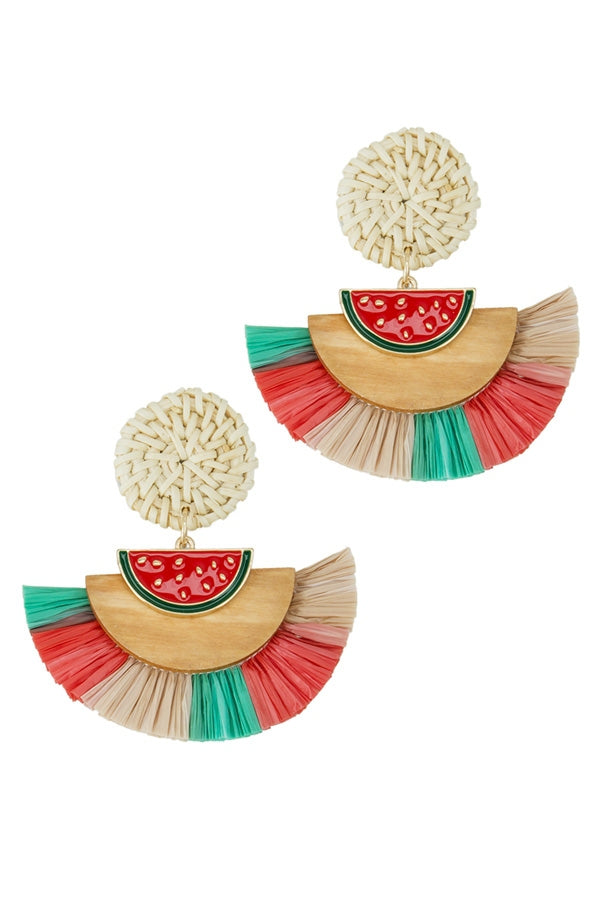 WATERMELON TASSEL EARRINGS