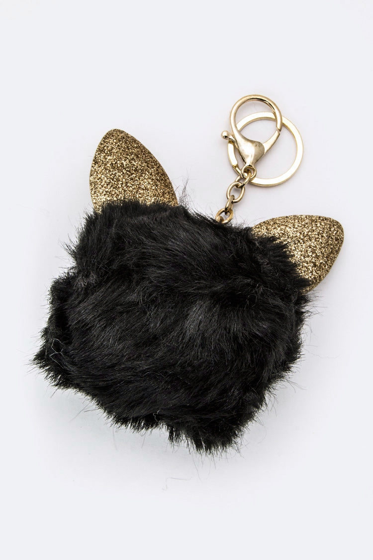 CAT EARS PURSE CHARM IN BLACK